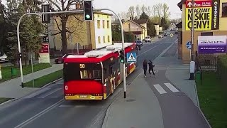 Bus narrowly misses girl's head after prank goes wrong