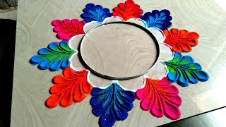Beautiful and innovative freehand rangoli design/easy rangoli classes