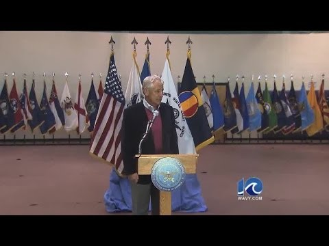 Defense Secretary Chuck Hagel visits Hampton Roads