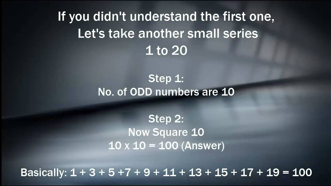Easy Math Trick - Find Sum of Odd numbers easily!! - YouTube