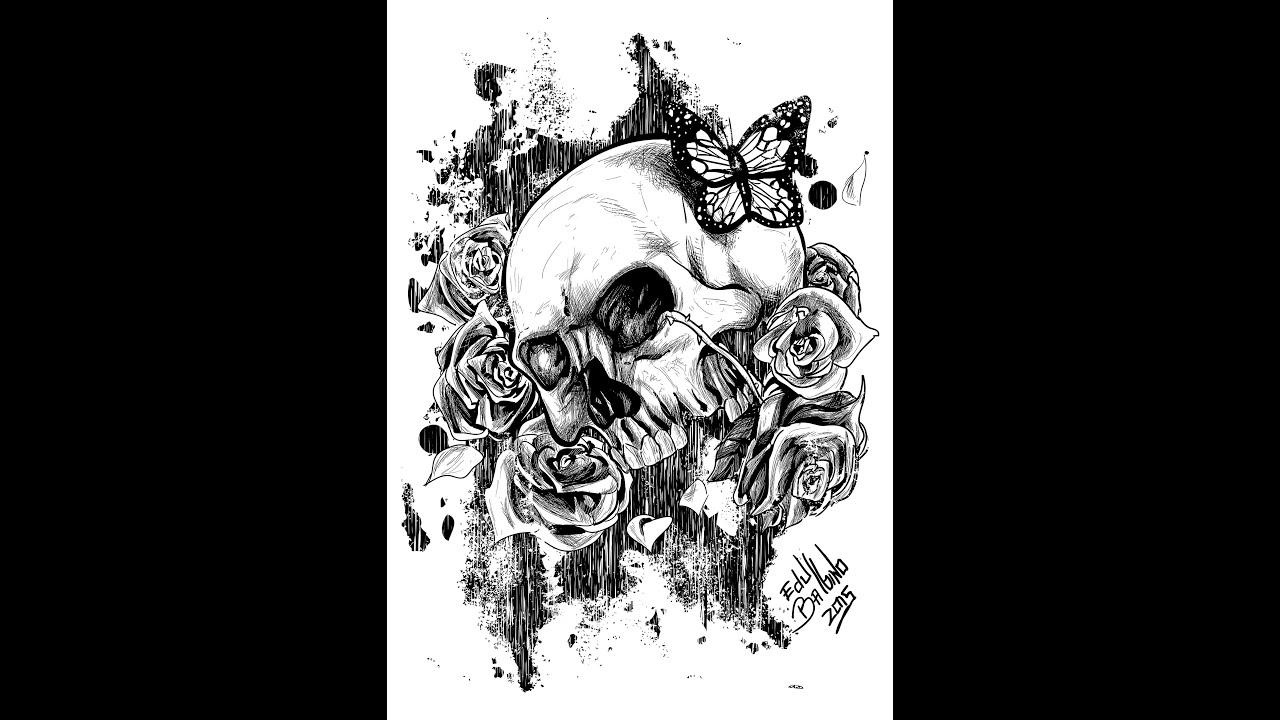 Skull and Roses - Speed Drawing - Adobe Illustrator - YouTube