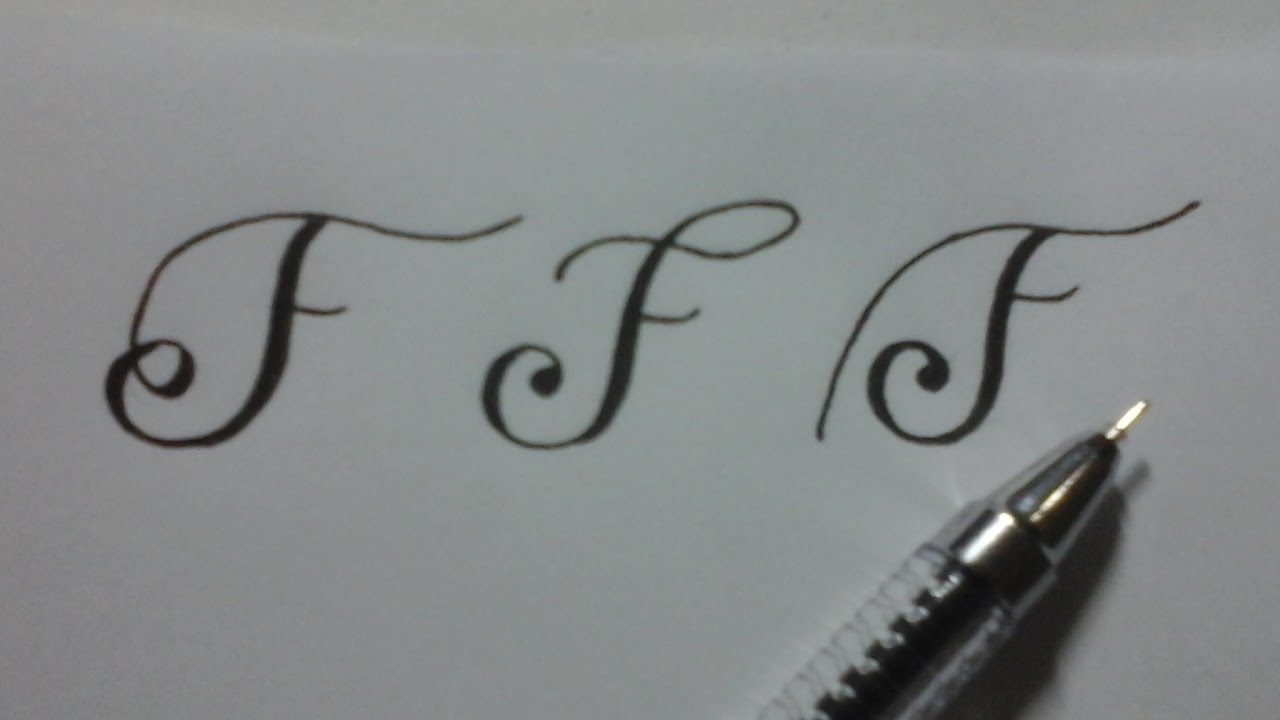 Calligraphy Letter F With Normal Pen Youtube