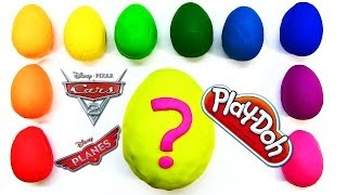 11 Play-Doh Rainbow Surprise Eggs with Disney Cars 2 and Planes Micro Drifters Lightning McQueen