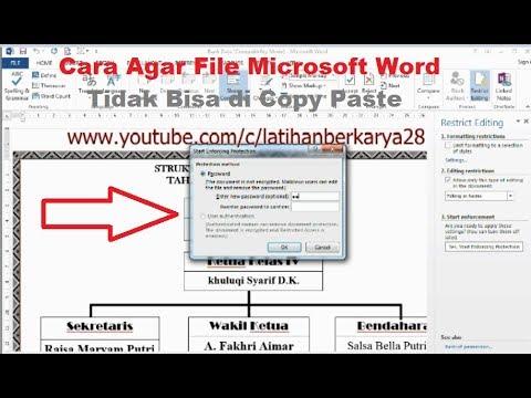 Cara Agar File Microsoft Word Tidak Bisa di Copy Paste - YouTube