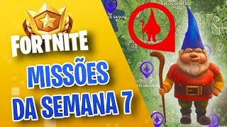 HIDDEN GNOMES? HOW TO PERFORM ALL MISSIONS OF THE WEEK 7-FORTNITE ‹ VINOK4 › SEASON 3