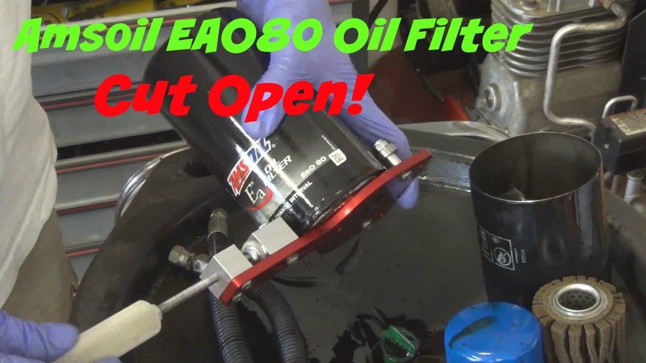 amsoil eao80 oil filter cut open from a 2001 dodge ram 2500 cummins turbo diesel [ 1280 x 720 Pixel ]