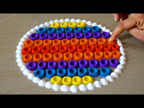 Easy And Latest Rangoli Designs For Festivals | Beginners Rangoli Designs | Easy Muggulu | Kolam