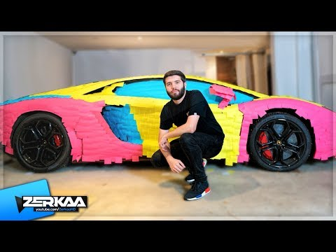 WRAPPING KSI'S LAMBORGHINI IN STICKY NOTES (PRANK)