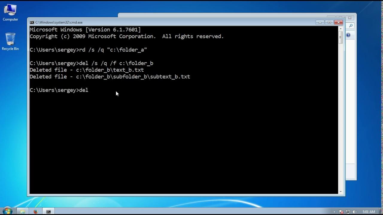 Как удалить папку с помощью командной строки (cmd) в Windows