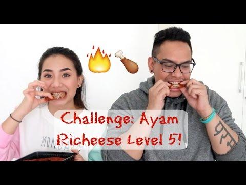 Challenge! Makan Ayam Richeese Level 5!! - Abel Cantika & Marco Randy