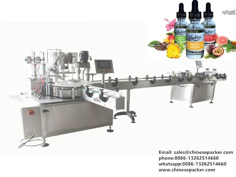 E liquid bottle unscrambler filling capping and labeler machine ...