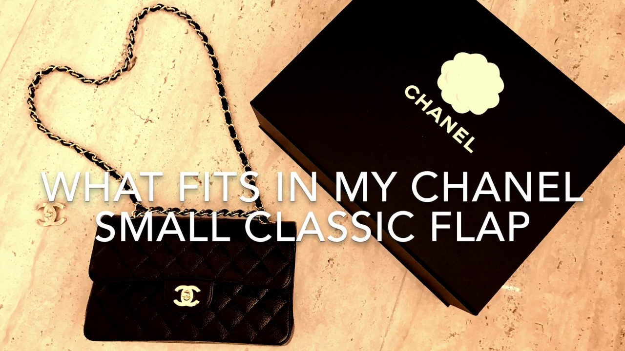e61437ad2b8756 What fits inside small Chanel classic flap | Comparison with medium ...