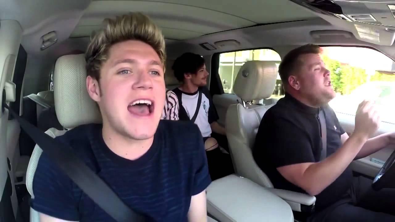 One Direction Carpool Karaoke - Drag Me Down - James Corden's Rap & Harry's High Note Fail #1