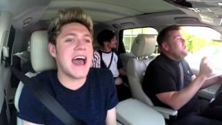 One Direction Carpool Karaoke - Drag Me Down - James Corden's Rap & Harry's High Note Fail