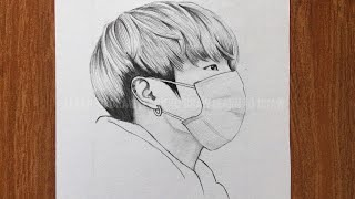 How to draw jungkook BTS  jungkook sketch  BTS drawing  drawing for beginner  រៀនគូរ
