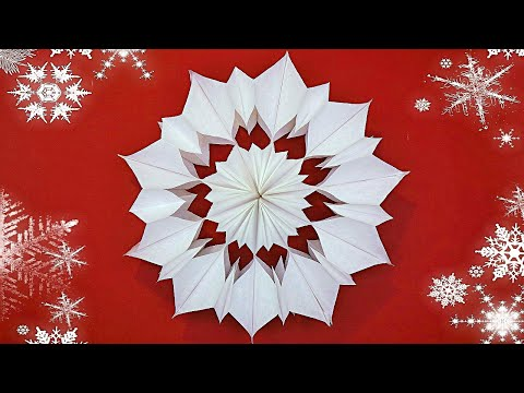 How to make 3D paper snowflakes ❄ DIY snowflakes of paper bag ❄ Christmas crafts - 동영상