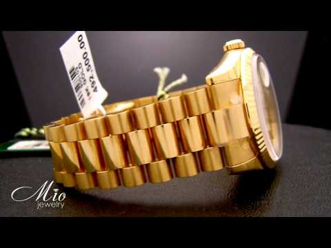 Mens Rolex Day Date Champagne Index Dial Fluted Bezel 18k Yellow Gold Watch