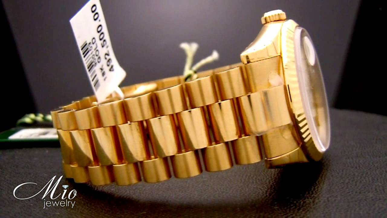 Mens Rolex Day Date Champagne Index Dial Fluted Bezel 18k Yellow ...