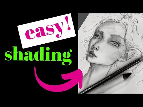 EASY Pencil Shading Techniques on a Whimsical 3/4 Face!!
