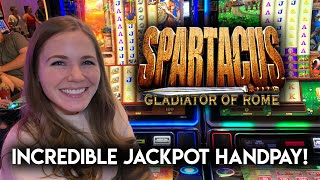 EPIC HANDPAY JACKPOT! First Time Ever Playing The NEW Spartacus Slot Machine!! Crazy Run!!