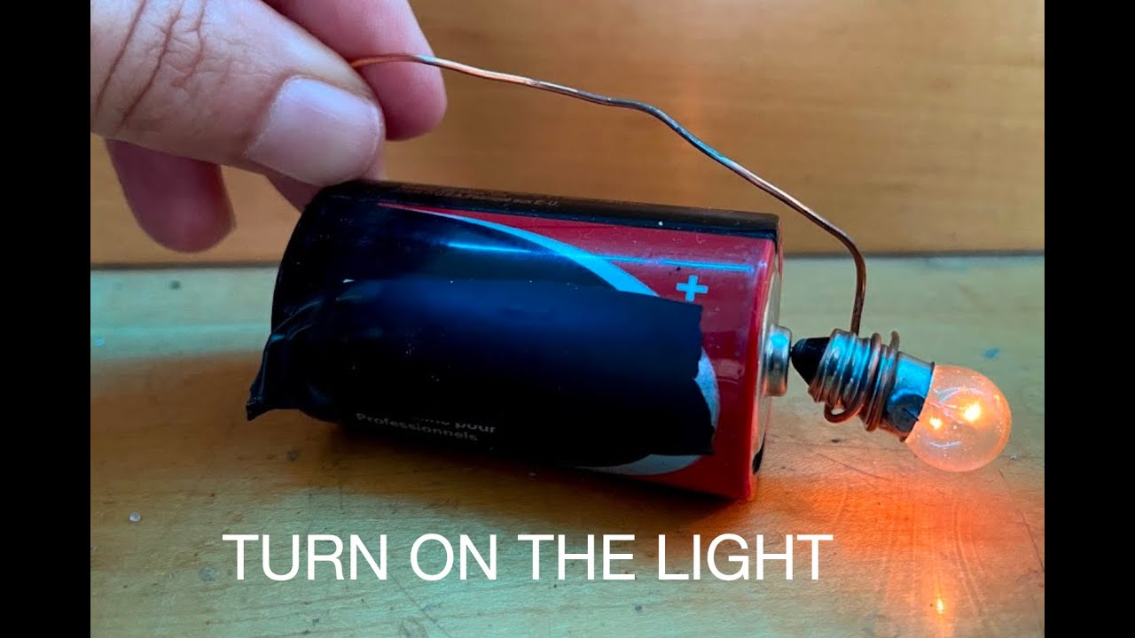 how to light a bulb with one battery and two wires