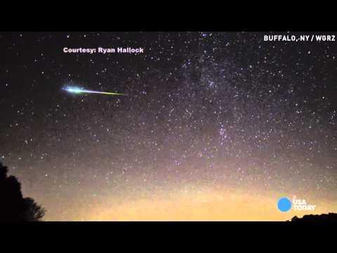 Perseid meteor shower flies through dark sky
