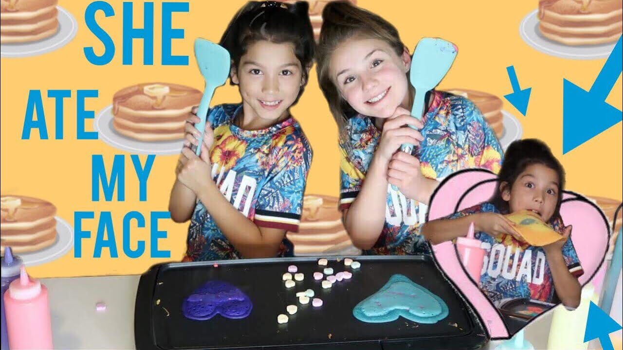 Valentines Day Pancake Art Challenge wTxunamy  Piper