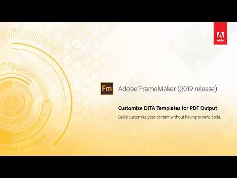 Customize DITA templates for PDF output - Adobe FrameMaker (2019 release)