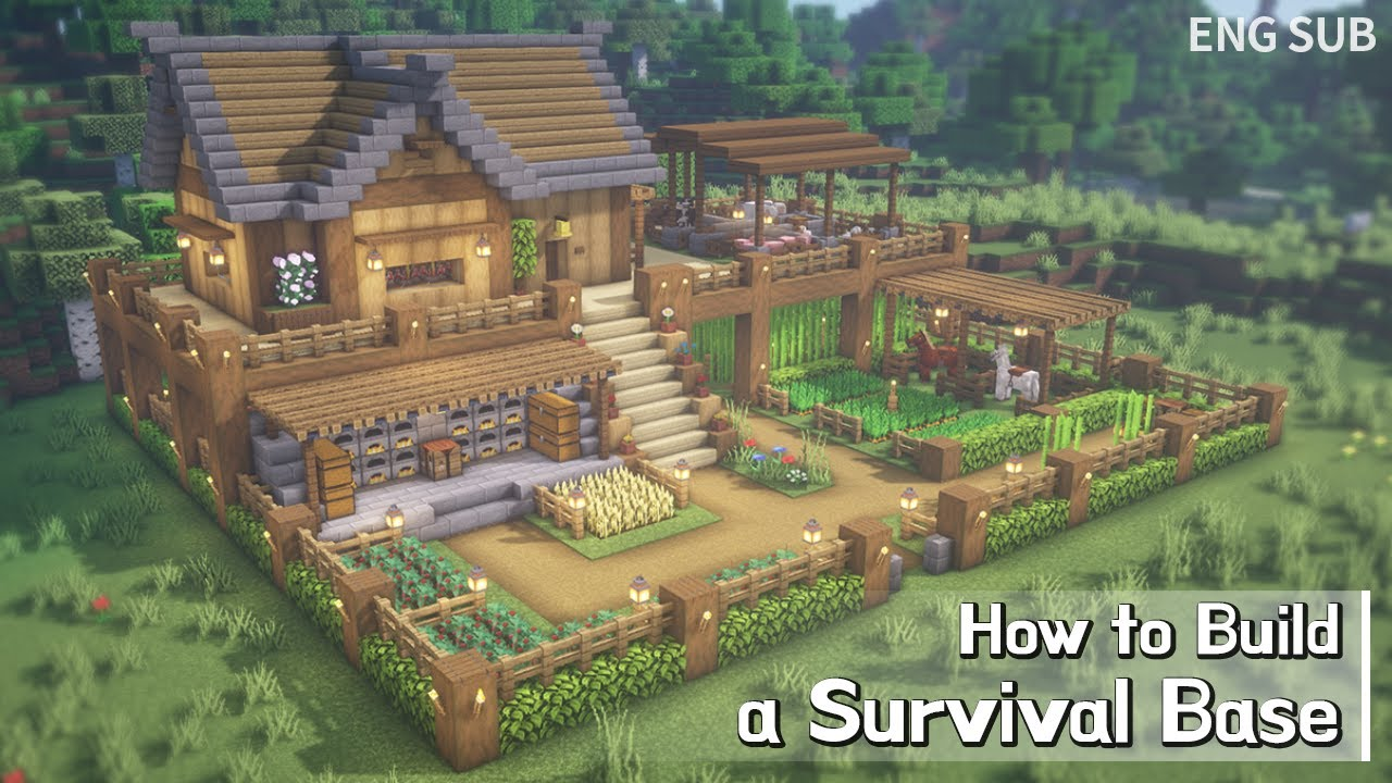 Minecraft: How To Build a Survival Base Tutorial (Building Tutorial) (#14) | 마인크래프트 야생 건축, 인테리어