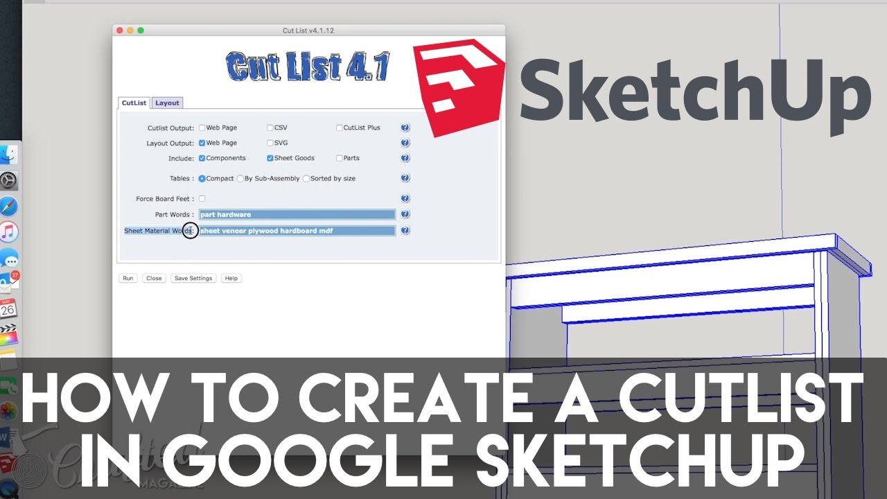 Sketchup Cutlist Extension Tutorial Crafted Workshop Youtube View An Exploded Diagram Of The Cx2 Plus A Parts Listing Click Here