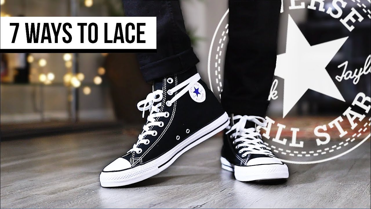 Tratado Rebaño Elasticidad  7 WAYS TO LACE CONVERSE CHUCK TAYLOR ALL STAR HIGH TOP | I AM RIO P. -  YouTube
