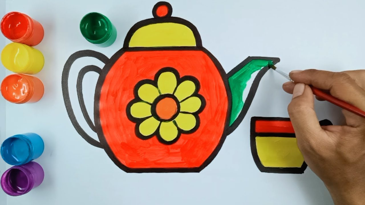 Drawing And Coloring Teapot