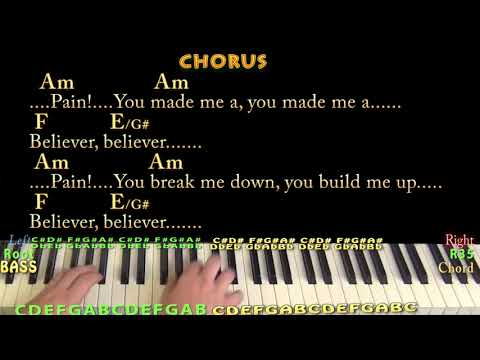 Believer (Imagine Dragons) Piano Cover Lesson In Am With Chords/Lyrics