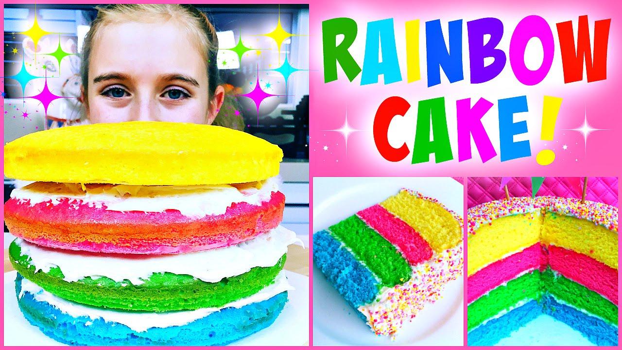 Super Easy Diy Rainbow Cake So Easy Kid S Can Make It Youtube