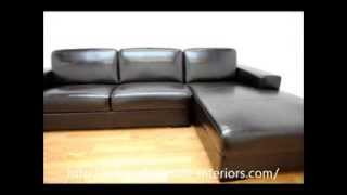 Wholesale Interiors Susanna Brown Shiny Leather Large Sectional Sofa with Chaise