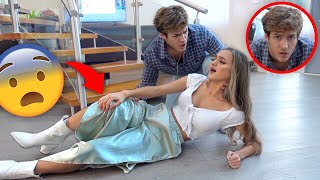 FALLING DOWN THE STAIRS PRANK ON BOYFRIEND! *CUTE REACTION*