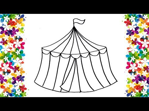 How To Draw A Circus Tent | Kids Easy Drawing And Coloring | Art Learning And Fun