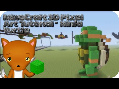 MineCraft 3D Pixel Art Tutorial   Teenage Mutant Ninja Turtle
