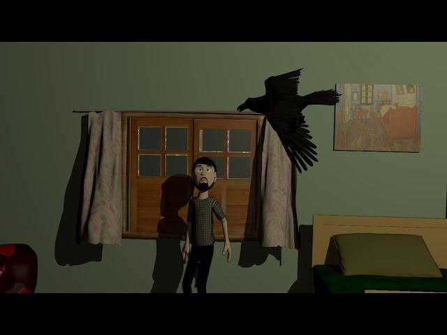 """Animação do poema """"O Corvo"""", do escritor e poeta norte-americano Edgar Allan Poe."""
