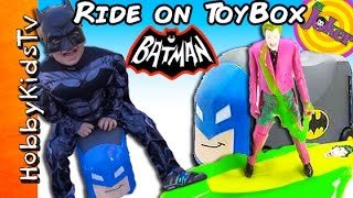 Mega COOL Batman Toy Box Car! Super Hero DC Ride On Wagon TOY BOX HobbyKidsTV