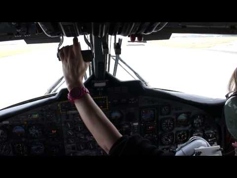 Woman pilot Takes off from Benbecula airport, Twin Otter
