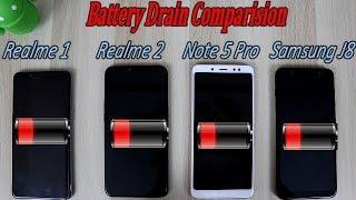 Realme 2 vs Realme 1 Vs Note 5 Pro Vs Samsung J8 Battery Drain Comparision !! HINDI