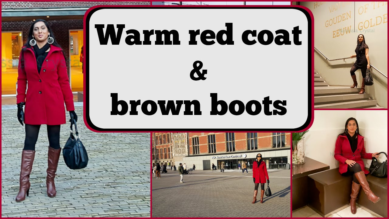 57fdb373f8c Crossdresser - in Amsterdam - red coat and brown high heeled boots ...