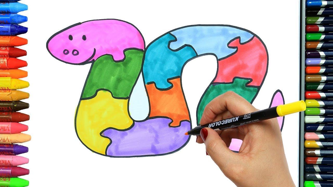 Cómo Dibujar Y Colorear Rompecabezas De Serpiente Dibujos Para