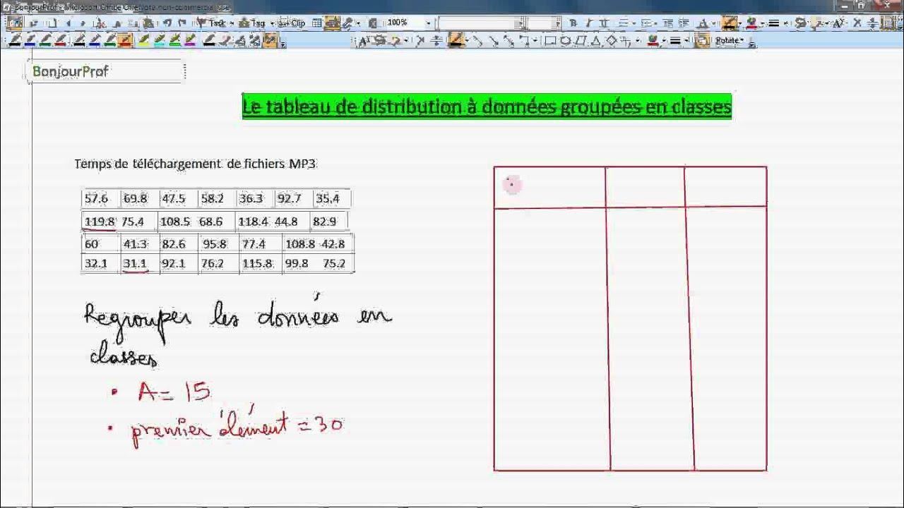 Secondaire 3 Quebec Statistique 7 4 Le Tableau De Distribution A Donnees Groupees En Classes Youtube