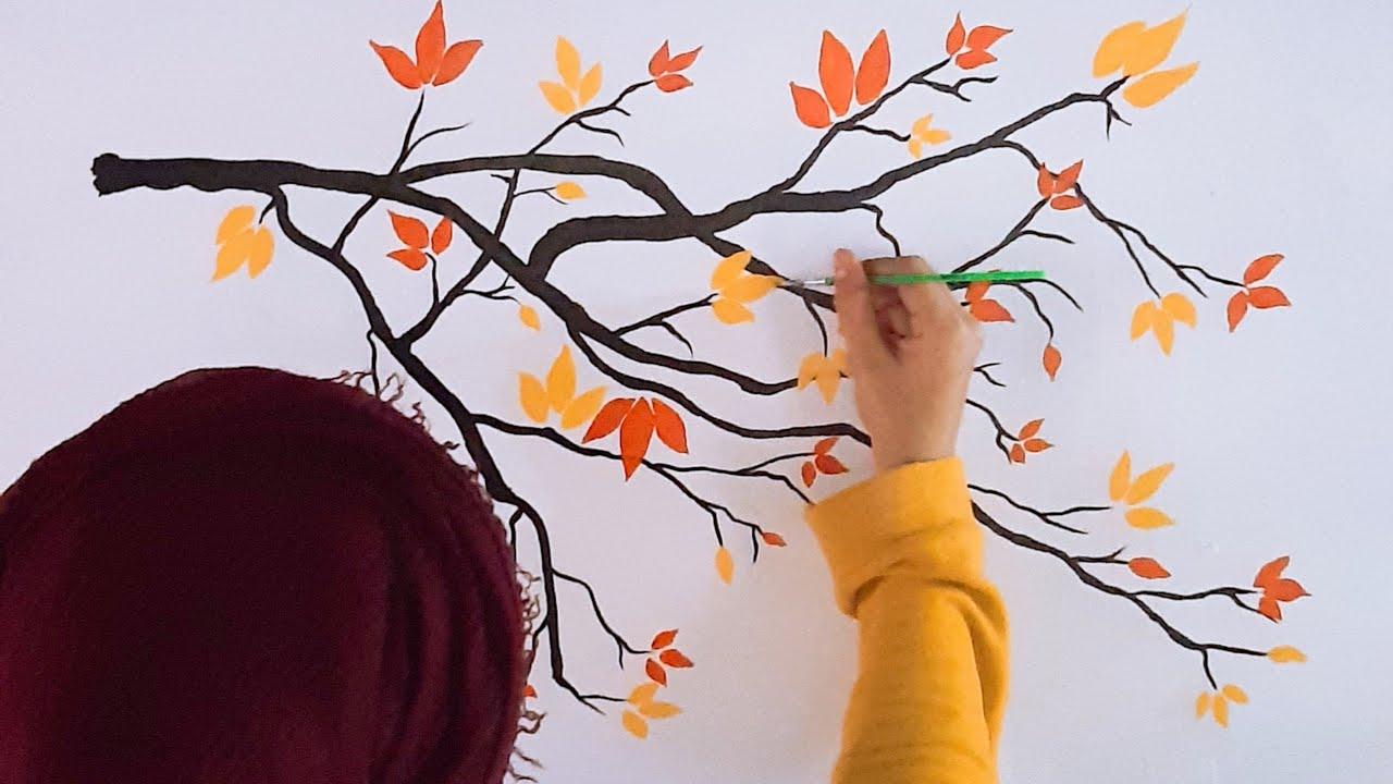 Easy Wall Painting Wall Art Diy Tree Design Small Wall Painting Room Painting Ideas Youtube