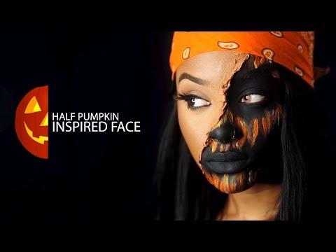 Half Pumpkin Inspired Face Halloween Makeup