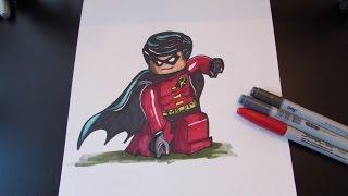 How to draw Robin - DC Superheroes - Lego Speed Draw #49