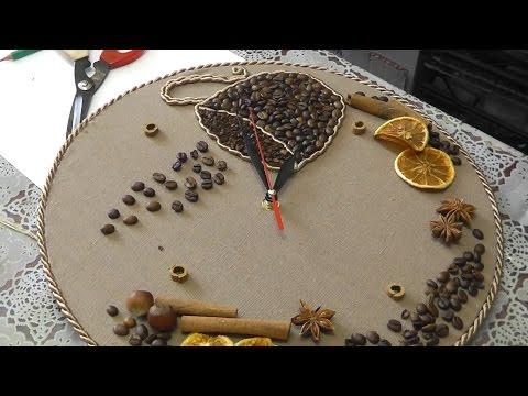 Часы с кофейным декором. Мастер-класс
