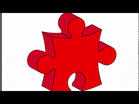 3d puzzle piece - Adobe Illustrator cs6 tutorial. How to draw 3d red puzzle design.